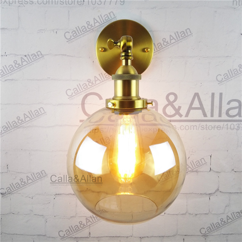 Amber glass lampshade round ball brass wall lamp E27 AC110V/220V beside sconce antique brass wall light up and down industrial