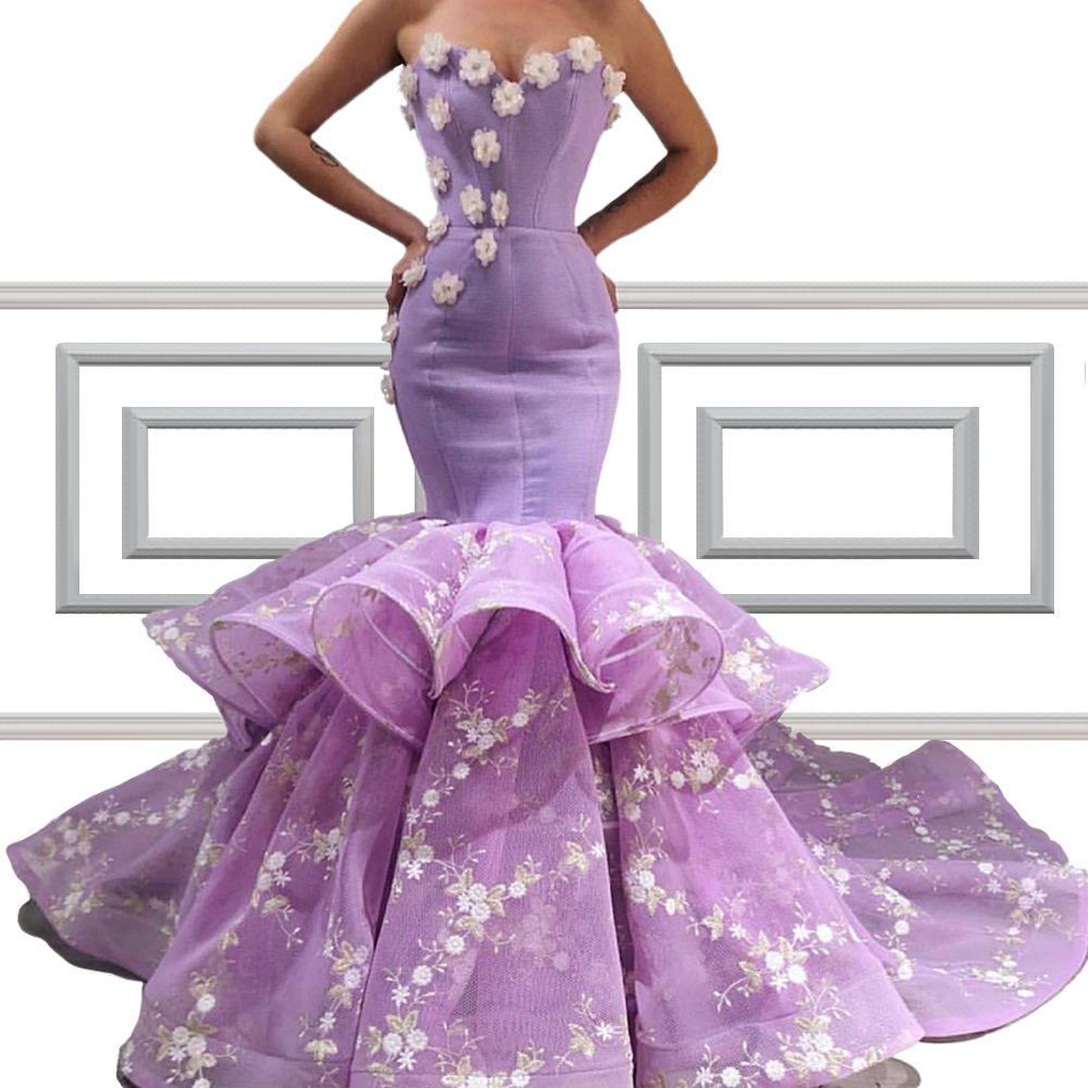 Special Purple Mermaid   Prom     Dresses   With Flowers Strapless Backless Long Evening Party   Dresses   Custom
