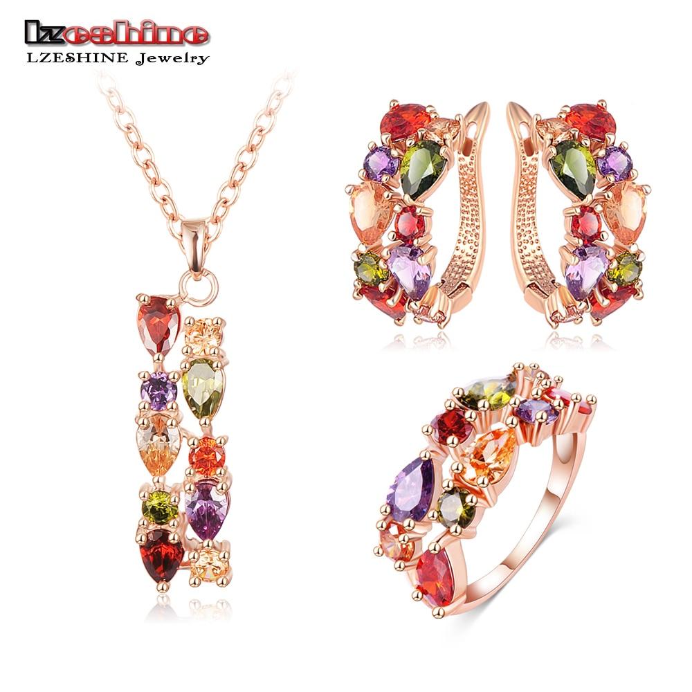 lzeshine new top rose gold color flower jewelry set multicolor cubic zircon pendant earrings ring women wedding jewelry sets - Discount Wedding Rings Women
