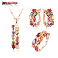 LZESHINE 2015 New Top Quality 18K Rose Gold Plate With Multicolor Cubic Zircon Pendant Earrings Ring