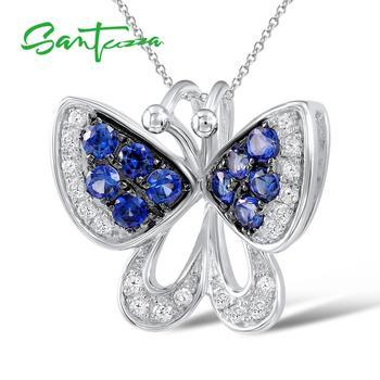 SANTUZZA colgante de plata para las mujeres 925 plata esterlina pura azul Nano Zirconia cúbica mariposa delicada delicado de moda de la joyería