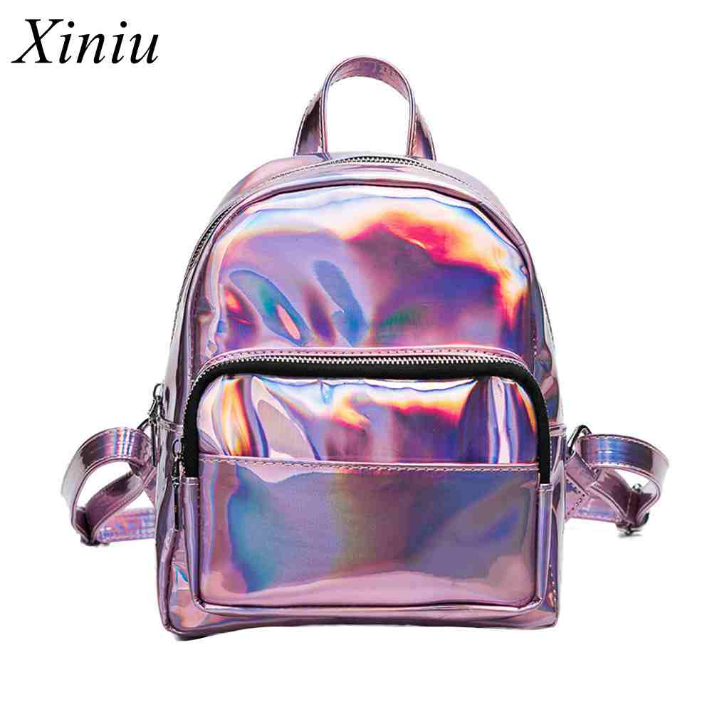 Xiniu Women Leather Backpack Sequins Solid Zipper Flap Silver Travel Backpack School Bags For Teenage Girls