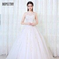 BEPEITHY 새로운 디자인 Vestido 드 Noiva 특종 아플리케 파란색 얇은 명주 그물 빈티