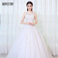BEPEITHY New Design Vestido De Noiva Scoop Appliques Beaded Tulle Vintage A Line Princess 2017 Wedding