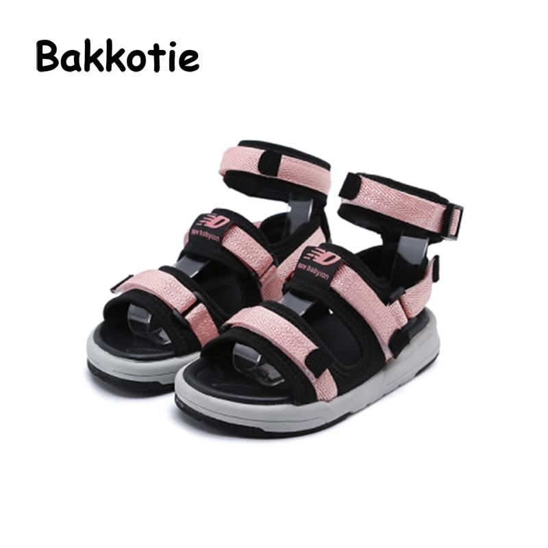 Bakkotie 2018 Summer New Toddler Boy Black Shoe Child Fashion Soft Beach Sandal Baby Girl Sport Pu Leather Pink Flat Little Kid keen austin ii c shoe toddler little kid
