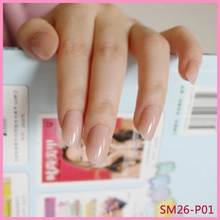 The Nailest 24Pcs Oval Fake Nails Clear Plastic Soft Pink False Candy Short Nail Tips