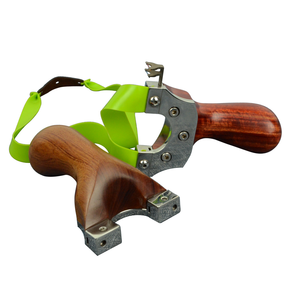 High-end outdoor competitive line cutting stainless steel flat leather Slingshot Steel-wood combined optical aiming pressing gol 1pc stainless steel slingshot with 3 flat rubber bands process cutting scorpion slingshot outdoor adult sports games