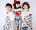 Coração Família Combinando Roupas de Algodão Macio Camisa de Harmonização Da Filha Da Mãe Roupas Família Olhar Estilo Filho Mãe Pai AF-1727