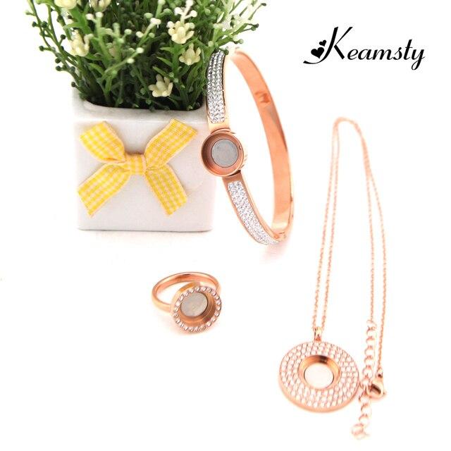 Keamsty Kristall Schmuck Set Austauschbar Rose Gold Farbe Halskette