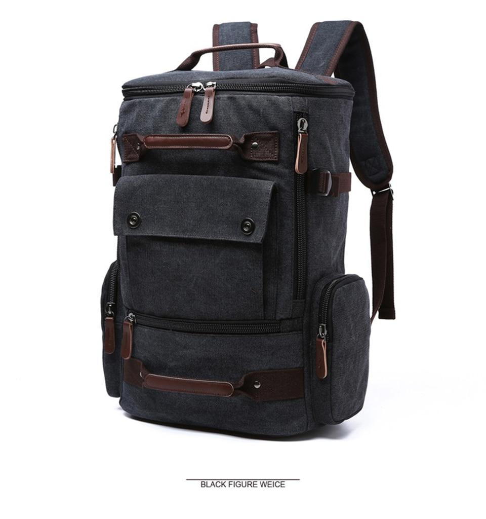 1 Canvas Backpack 15.6'' Laptop Backpacks Men Bagpack Wearproof School Bag for Teenage Male Knapsack Travel Bags Fashion Rucksack