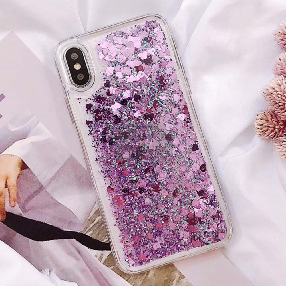 HTB1qw6wXK6sK1RjSsrbq6xbDXXay - QINUO Love Heart Glitter Phone Case For iphone 11 Pro Max X XR XS MAX 6S 6 7 8 5 5S SE Liquid Quicksand Bling Sequin Cover