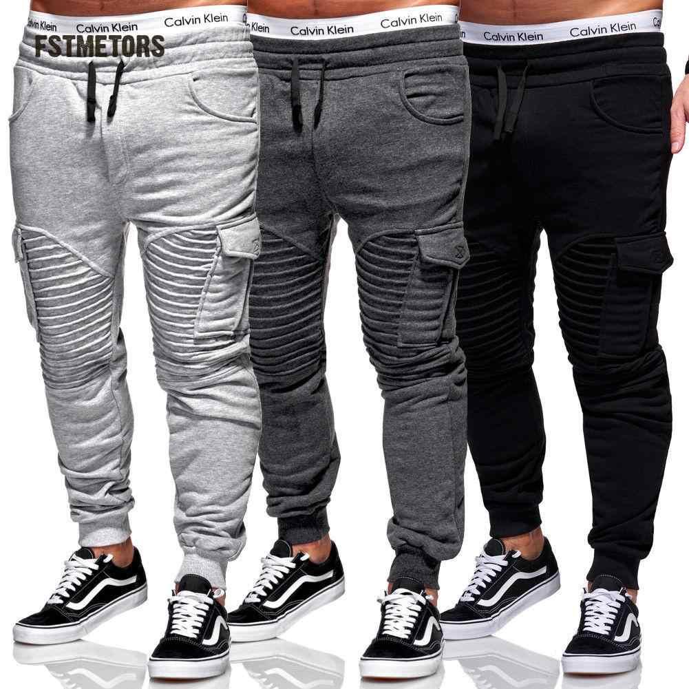 b9e336a8126 2018 Fstmetors Pencil men Pants LengthFlat Broadcloth Elastic Waist Pockets Pants  Mens Joggers Trousers Men Sweatpants