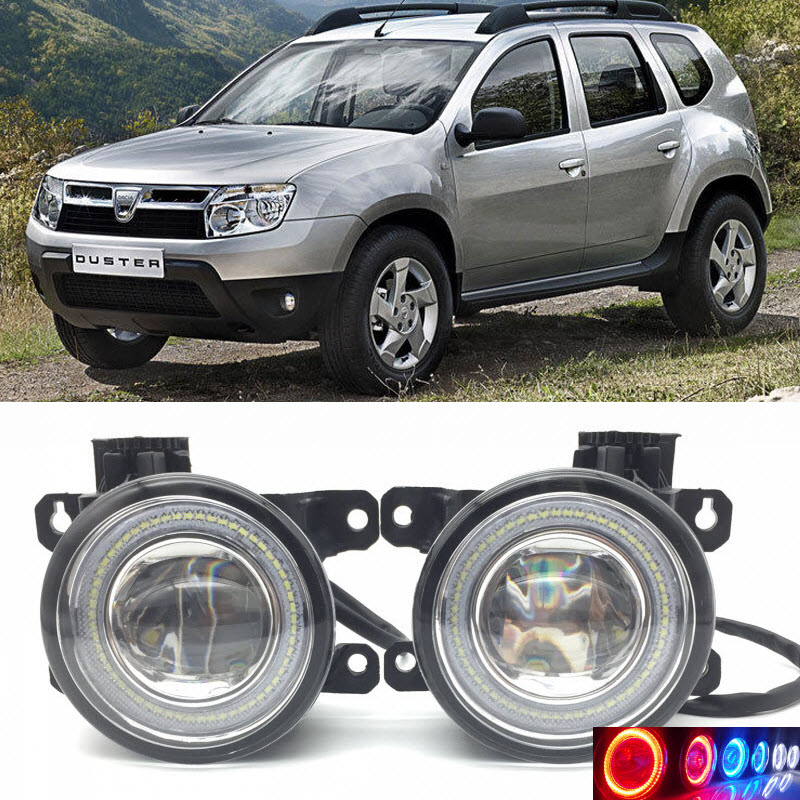 For Dacia Renault Duster 2010-2017 2-in-1 LED 3 Colors Angel Eyes DRL Daytime Running Lights Cut-Line Lens Fog Lights Lamp car styling 2 in 1 led angel eyes drl daytime running lights cut line lens fog lamp for land rover freelander lr2 2007 2014