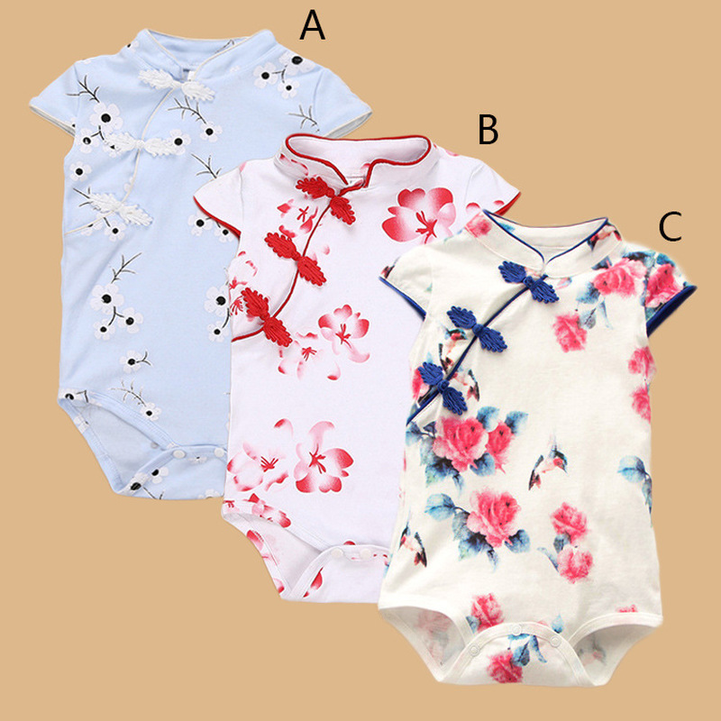 2019 summer Chinese style infant clothing print flower cheongsam jumpsuit cotton female baby summer jumpsuit clothes 5 colors2019 summer Chinese style infant clothing print flower cheongsam jumpsuit cotton female baby summer jumpsuit clothes 5 colors