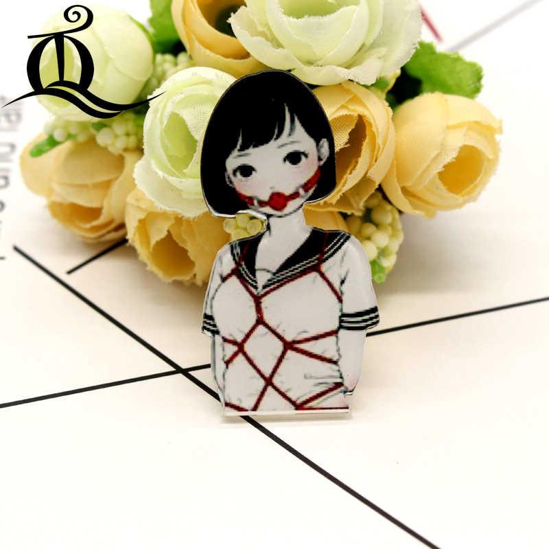 Envío gratis 1 piezas pintura chica de dibujos animados animal ropa de acrílico placas Kawaii iconos en la mochila Pin broche insignia 37