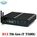 Fanless mini pc com gen kaby lago intel core i7 7500u winows 10 computador htpc fanless mini pc 4 k