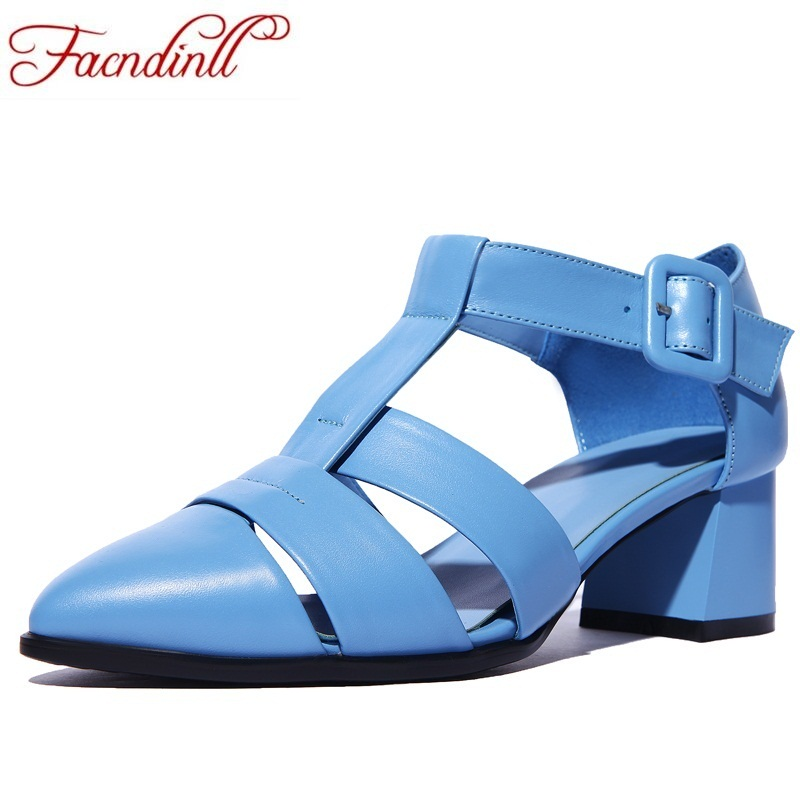 FACNDINLL genuine leather women gladiator sandals 2018 black blue fashion high heels pointed toe shoes woman casual date shoes facndinll classics women gladiator sandals shoes new fashion wedges high heels open toe summer shoes woman casual date sandals
