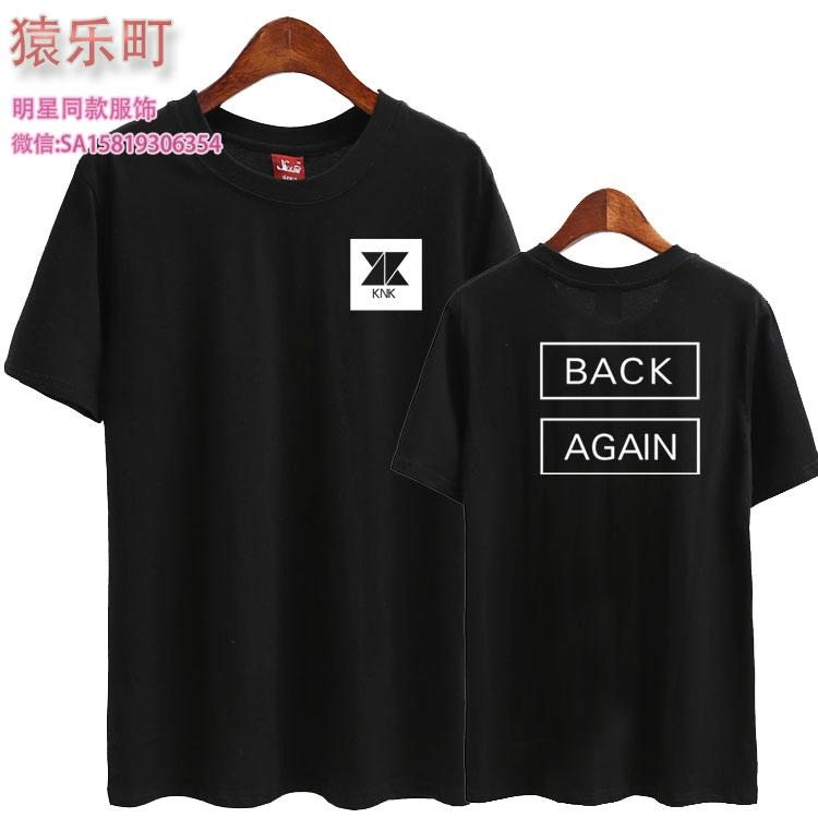 summer style kpop knk black again printing o neck short sleeve t shirt fashion lovers t shirts 6