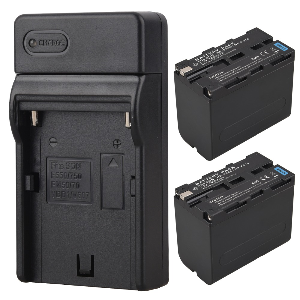 High Capacity 2x 7800mAh NP F970 NP F960 NP F970 NP F960 Digital Camera Battery + USB Charger for Sony NP F960 NP F970 Battery