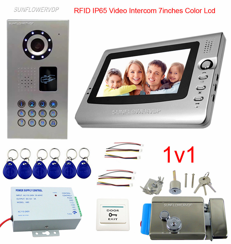 IP65 Waterproof Video Intercom Video Door Bell 7 Color Lcd Rifd Intercom Key Video Doorman House Cable Home Phone + Door Lock intercom system for home 7inch color ccd camera video intercom with electric lock door phone intercom video bell ip65 waterproof