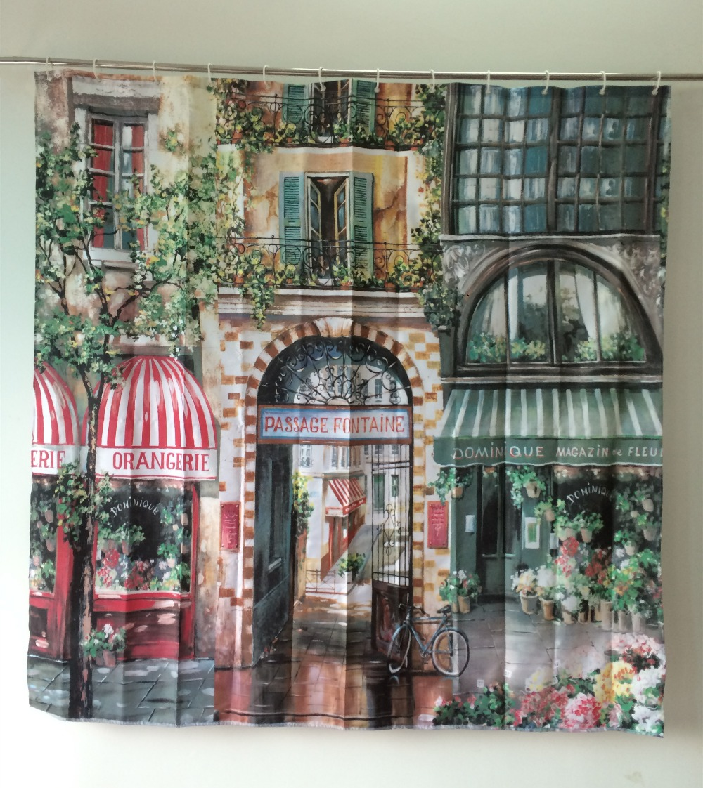 180*180cm Retro Coffee House Shower Curtain Mouldproof Waterproof Fabric Bath Curtain For Bathroom