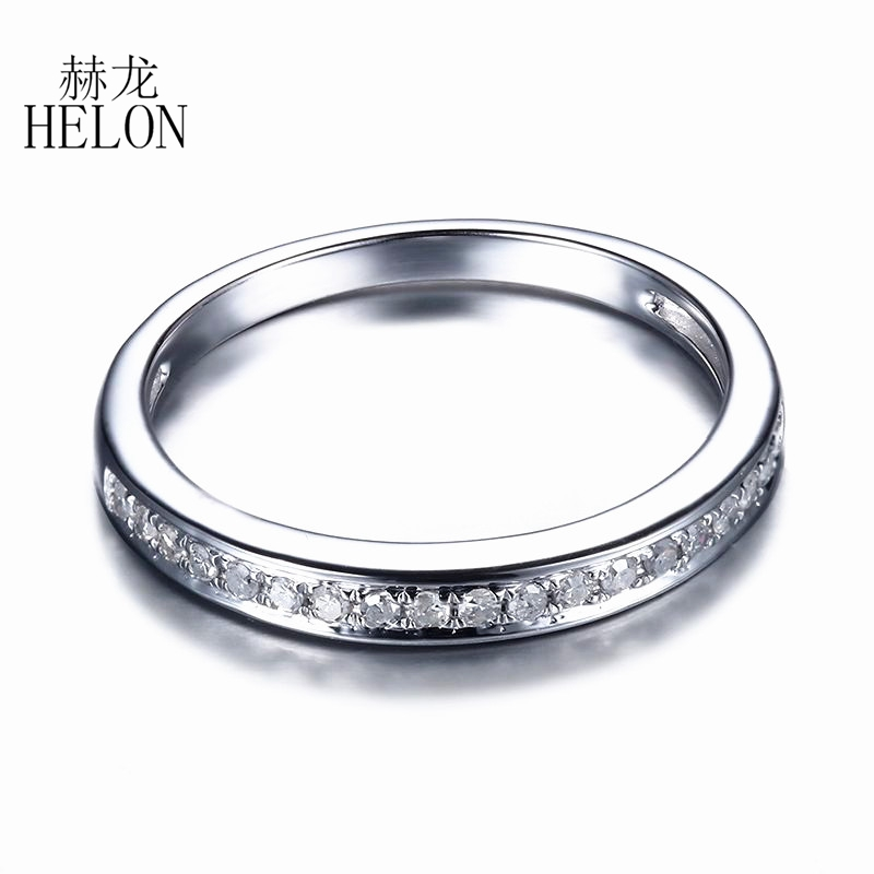 HELON Solid 14K White Gold Anniversary Band Engaement Wedding Pave 0.2CT 100% Genuine Natural Diamonds Lady Fine Jewelry Ring(China)