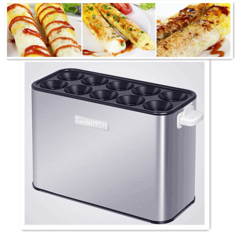 220V/1400W New Commercial Electric Egg Roll Machine Egg Sausage Maker Hot Dog Machine Egg Hamburger Maker For Breakfast made in china commercial egg sausage machine electric home use egg hot dog omelet waffle machine
