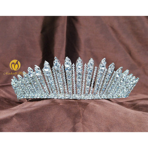 Image 2 - Awesome Miss Beauty Pageant Tiara Crown Clear Crystals Brides Headband Hair Accessory Wedding Bridal Prom Party Costumes 318g
