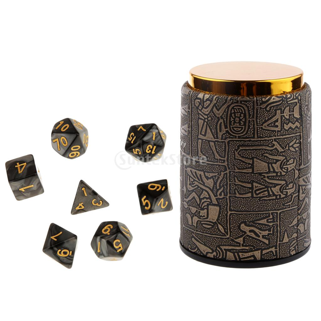 цена MagiDeal 7 peices Polyhedral Dice for Dungeons and Dragons Dice D20 D12 D10 D8 D6 D4 Table Games +Dice Cup