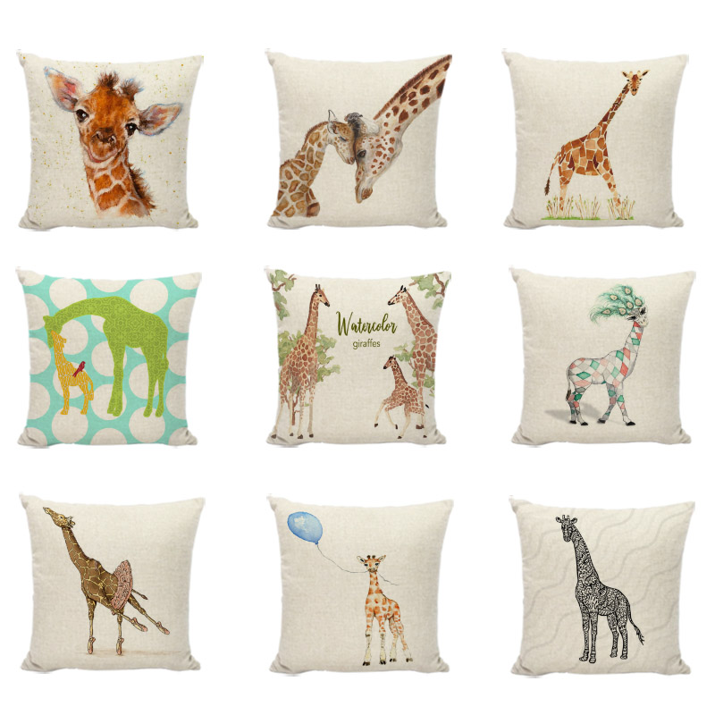 Cuteness Giraffe Cushion Cover Decorative Pillowcase For Gaming Chair Linen Cotton Beautiful Peacock Feathers Throw Pillow Cases