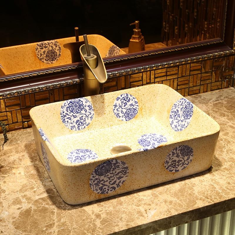 Wonderful Rectangular Bathroom Ceramic Counter Top Wash Basin Cloakroom Hand Painted  Vessel Sink Bathroom Sinks Decorative Sinks
