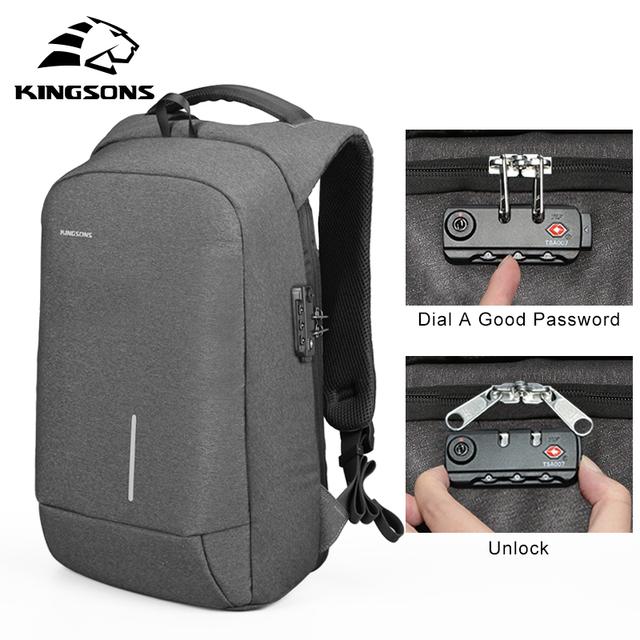 "Kingsons 13""15"" USB Charging Backapcks Anti-theft Backpack Bag Laptop Computer Bags Men's Women's Travel Bags"
