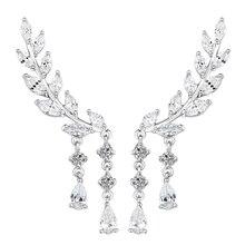 Women s CZ Crystal Leaves Ear Cuffs Earrings Zircon Sweep up Ear Vine Wrap Silver Pins