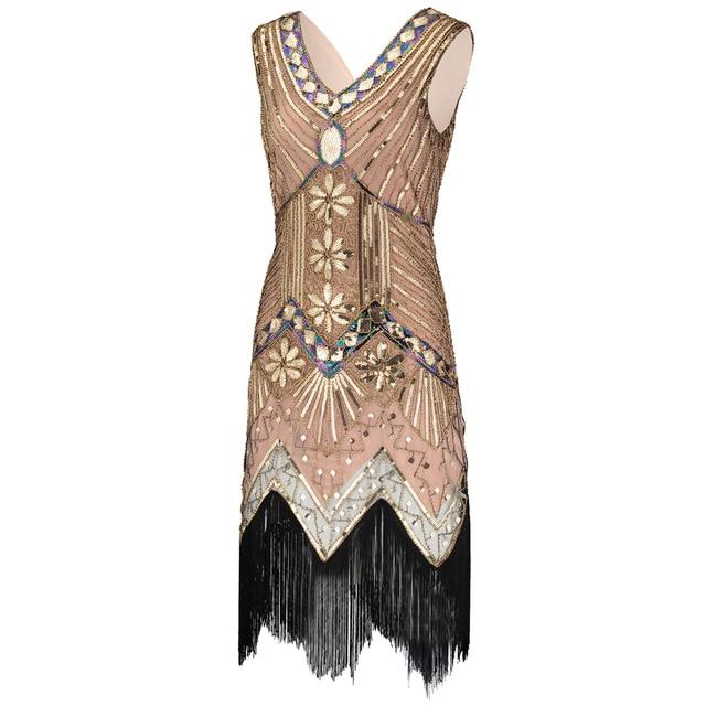 243a22dd Vintage 1920s Great Gatsby Dress Art Deco Beaded Sequin Party Dress Women  V-Neck Sleeveless Fringed Flapper Dress free shipping worldwide
