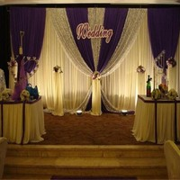 Customade Wedding Backdrop Curtain Wedding Decoration Silver Sequins Purple Swag Stage Backdround Pleats Curtain 10ftX20ft(3*6m)