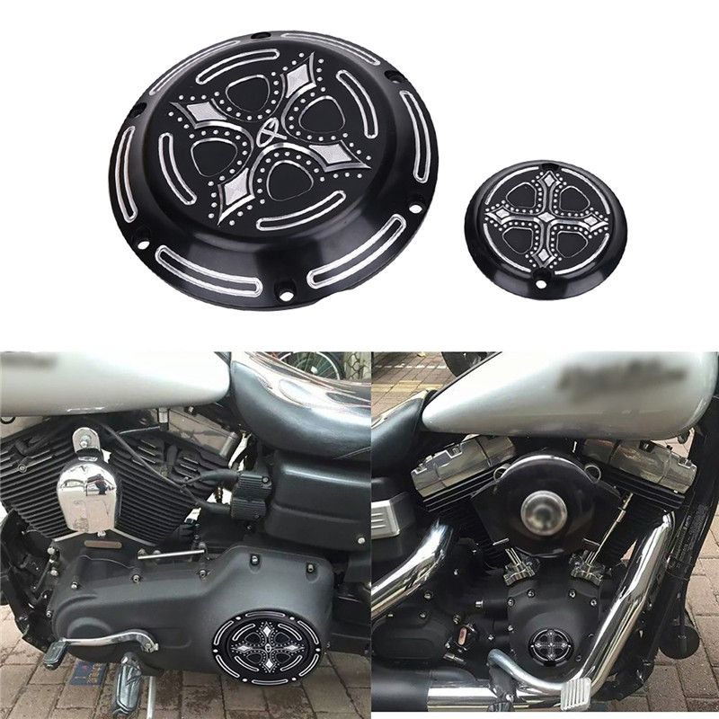 Aftermarket Crow Cross Heart Engine Derby Timer Cover For Harley FLD Dyna Switchback FLHR Road Sportster XL XR 883 1200 C/5 cnc engine cover cross derby