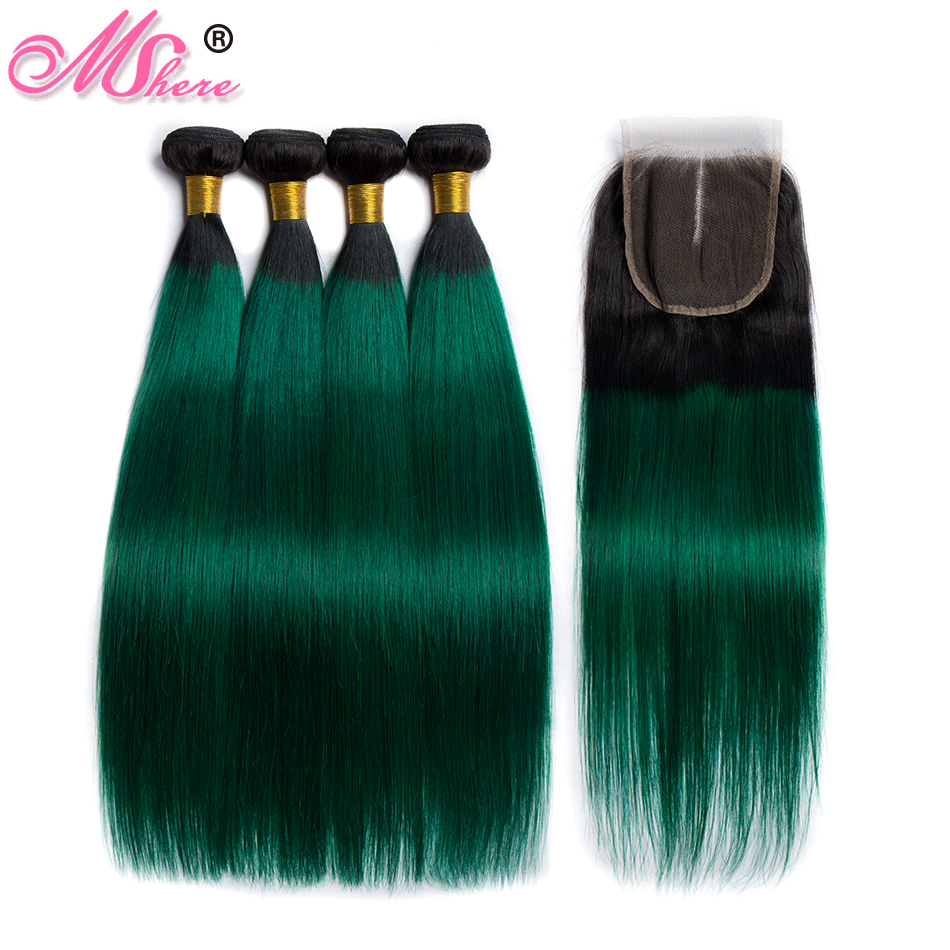 Mshere Straight Ombre Hair 3 /4 Bundles With Closure 1B/Green Peruvian Human Hair Weave Bundles With Closure Remy Hair