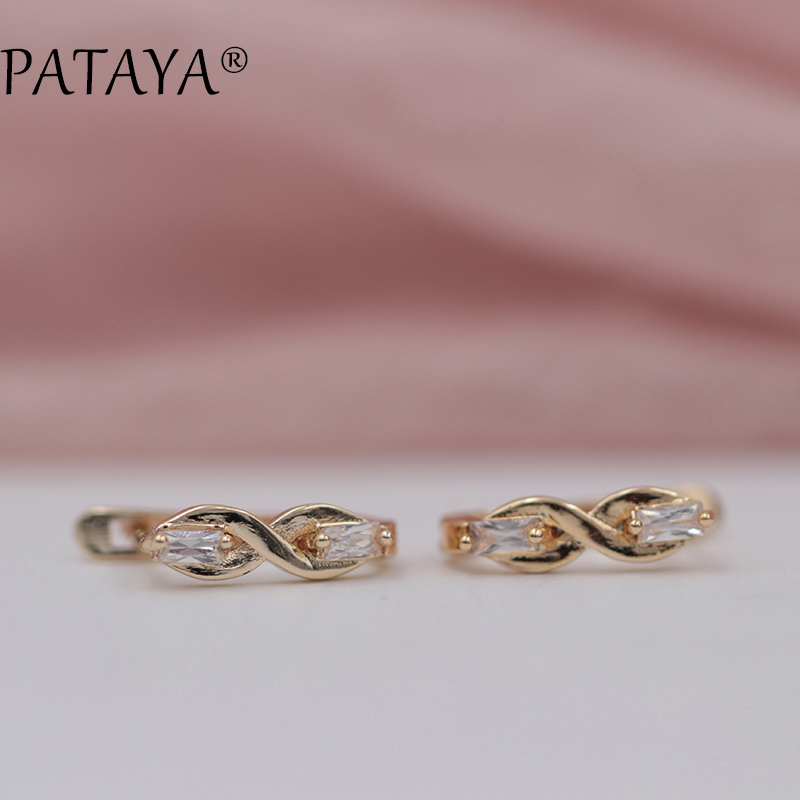 PATAYA New Digital Eight White Two Square Natural Cubic Zirconia Earrings 585 Rose Gold Classical Earrings Women Fine Jewelry