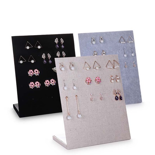 Free Shipping Trumpet Display Shelf Board Pin Ear Ring Jewelry Stand Earring Holder Box