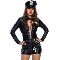 FGirl Cosplay Costume Sexy Halloween Costumes For Women Stylish 6pcs Female Cop Costume FG41738