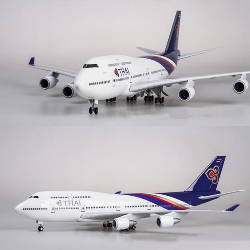 1 150 Scale 47cm Airplane Boeing B747 Aircraft Thailand THAI Airline Model W Light and Wheel
