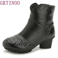GKTINOO Autumn Winter Women Boots Female Middle Heels Thick Heel Women S Boots New Soft Bottom