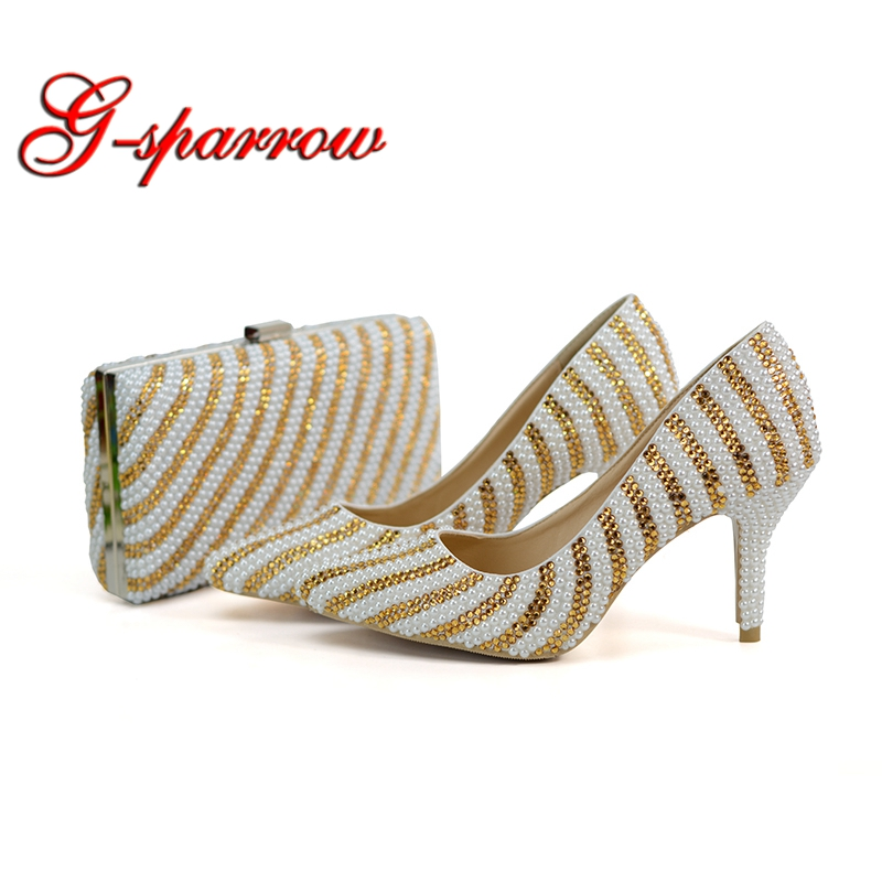 2018 New Designer Handmade Pointed Toe Wedding Shoes Mix White and Gold Color Bridal Dress Shoes with Matching Purse 8cm Heel