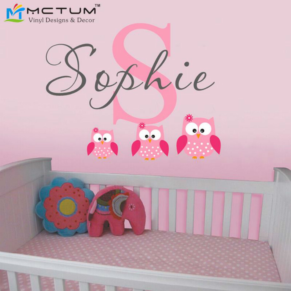 Owls wall decals personalized name vinyl wall art sticker for kids room children themed room
