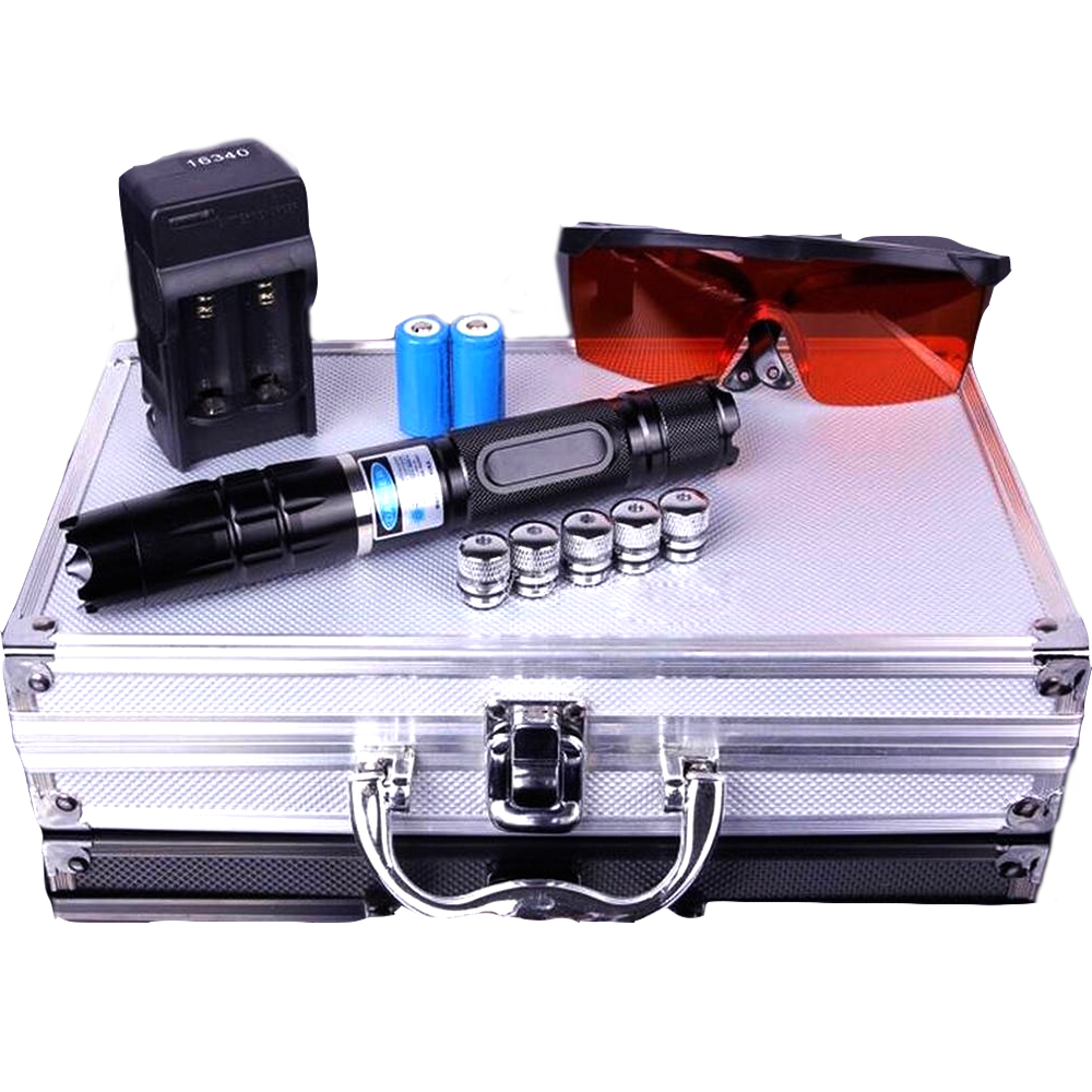 Haute Puissance laser pointeur Combustion Torche Laser Bleu 445nm 10000 m Focalisables Laser sight Pointeur lampe de Poche match de brûlure cigarette allumée