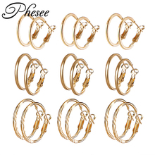 Phesee 9 Pair/Set Fashion Round Punk Hoop Earrings Set For Women Girls Gold Silver Color Twist Earring Party Jewelry Gift