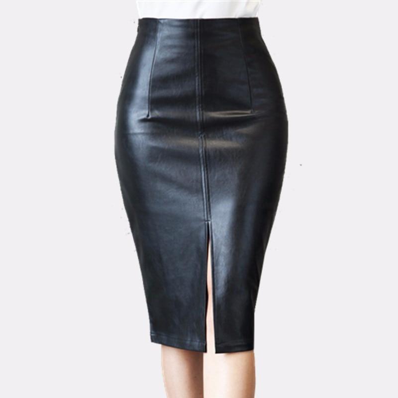 beaa74abaa Colorfaith 2018 Women PU Leather Midi Skirt Autumn Winter Ladies Package  Hip Front or Back Slit