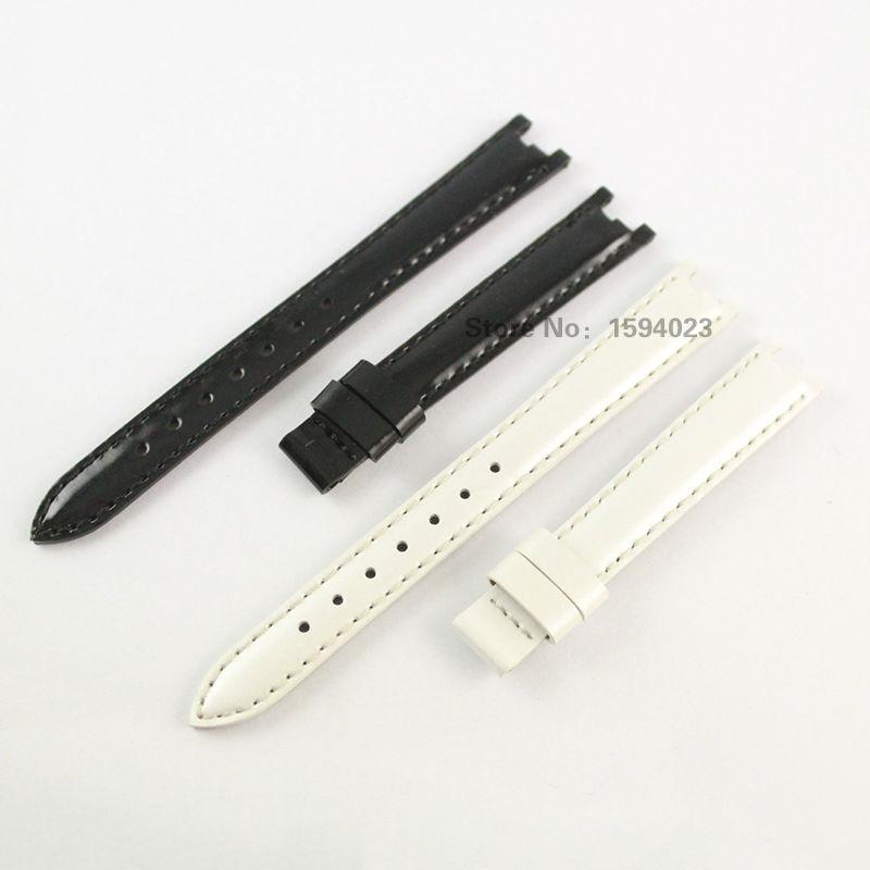 12mm (Buckle10mm) T094210A manteau de peinture en cuir véritable bracelet femmes noir blanc bracelet de montre accessoires bracelet de montre pour T094 - 2