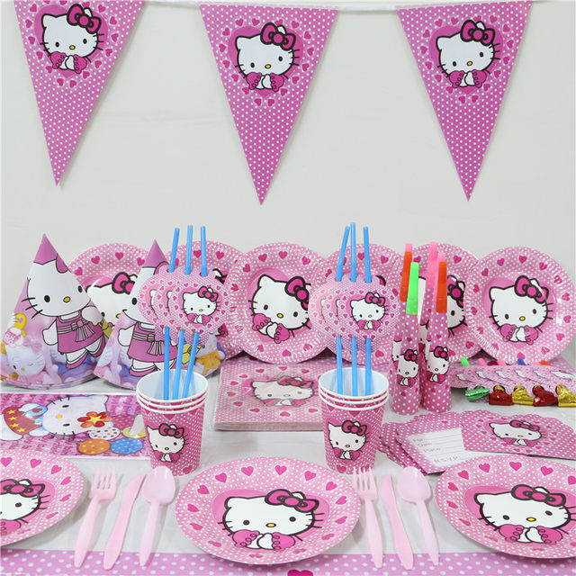 Online Shop 33pcs Kids Birthday Party Decoration Hello Kitty Paper
