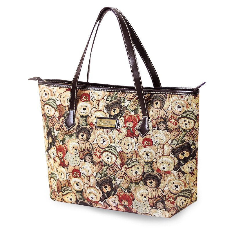 Lovely Bears Printing Ladies Stylish Tote Bag Contrast Color Trendy Fashion Cheap Hand Bag Women Grey